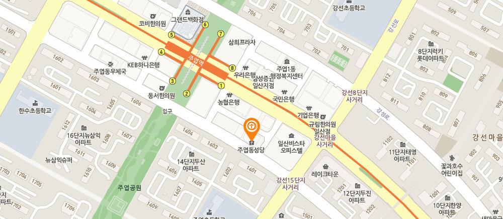 주엽동 성당 지도